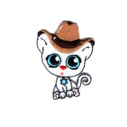 Patch Ecusson Thermocollant Chat Chaton Kawai Chapeau de Cowboy 3,50 x 5 cm