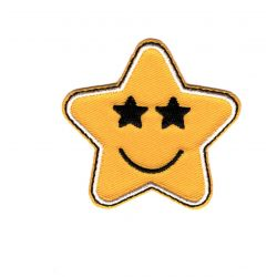 Patch Ecusson Thermocollant Etoile Star Smile Yeux Etoiles 5 x 5 cm