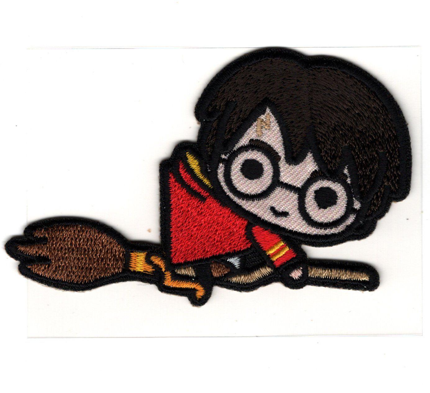 Patch Ecusson Thermocollant Harry Potter Sur Son Balai 5 X 8 Cm