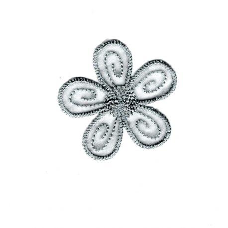 Patch Ecusson Thermocollant Fleur Coloris Gris 4 x 4 cm