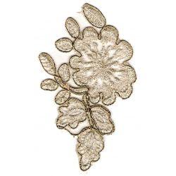 Patch Ecusson Applique à Coudre Fleur Blanche Dentelle 9 x 14 cm