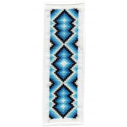 Kit Marque-Page Mosaïque Bleue Point de Croix Comptés Broderie