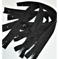 5 Fermetures eclair Fine Polyester Spirale 25 cm Coloris NOIR pochette coussin jupe