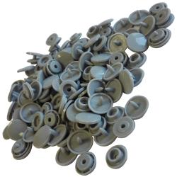 30 Boutons Pressions en Plastique Coloris Gris 12 mm