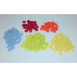 200 Boutons Motif Fleur Plastique 10 mm Toutes Couleurs