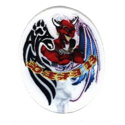 Patch Ecusson Thermocollant Diable Rouge 6 x 7,50 cm