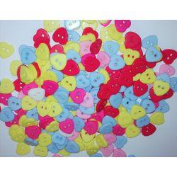 150 Boutons Coeur Plastique 10 mm Multicolore