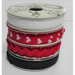 Lot 4 Bobines de Ruban 2 Mètres de chaque Noir Blanc Rouge Serpentine Coeur