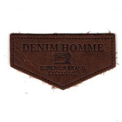 Ecusson Applique A COUDRE Denim Homme Coloris Tabac 3,50 x 6,50 cm Cuir Véritable