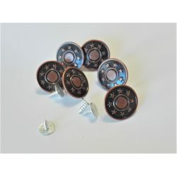 6 x Button Press Clic Jeans 20 mm Color Bronze