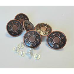 6 x Bouton Pression Clic Jeans 25 mm Coloris Bronze