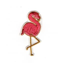 Patch Ecusson Thermocollant Flamant Rose et Dorure 2,50 x 5,50 cm