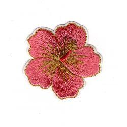 Patch Ecusson Thermocollant Joli Hibiscus Rose 4,50 x 4,50 cm