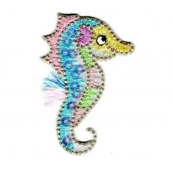 Patch Ecusson Thermocollant Hippocampe Douceur Bébé Sequins 3,50 x 5,50 cm
