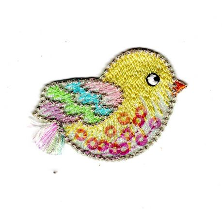 Patch Ecusson Thermocollant Poussin Douceur Bébé Sequins 3,50 x 5 cm
