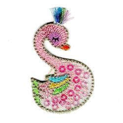 Patch Ecusson Thermocollant Flamant Rose Douceur Bébé Sequins 3,50 x 6 cm