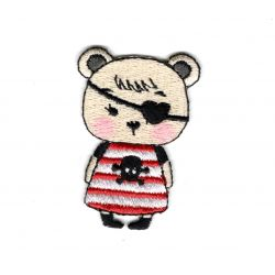 Patch Ecusson Thermocollant Ours Fille Pirate 3 x 4,50 cm