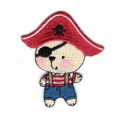 Patch Ecusson Thermocollant Ours Garçon Pirate 5 x 5,50 cm