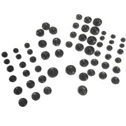 Lot 60 Boutons Pressions à Coudre Coloris Noir 7 à 15 mm
