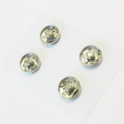 4 Boutons Pressions à coudre 16 mm Coloris Argent
