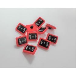 Boutons 10 x Tableau Noir Ecole Coloris Rouge Plastique 13 x 18 mm