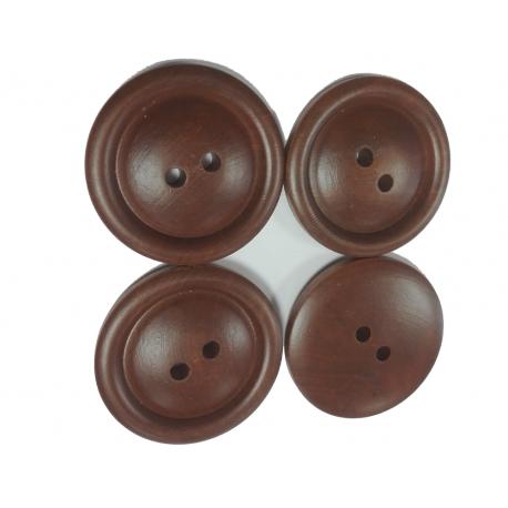 4 Boutons Bois 5 cm Coloris Marron
