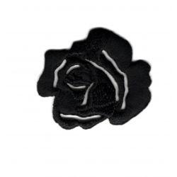 Patch Ecusson Thermocollant Fleur Petite Rose Ajouré Coloris Noir 3 x 3 cm