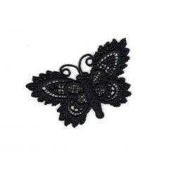 Patch Ecusson Thermocollant Papillon Dentelle Crochet Coloris Noir 3 x 6 cm
