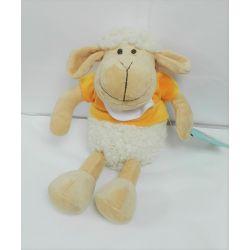 Doudou à Broder Point de Croix Mouton tout doux Coloris Jaune 25 cm
