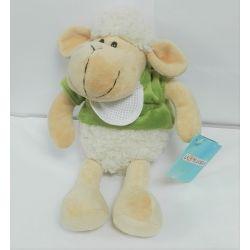 Doudou à Broder Point de Croix Mouton tout doux Coloris Vert 25 cm