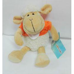 Doudou à Broder Point de Croix Mouton tout doux Coloris Orange 25 cm