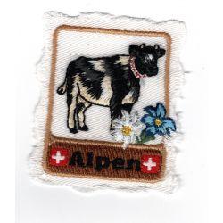 Patch Ecusson Thermocollant Alpes Suisse Vache 6 x 6,50 cm