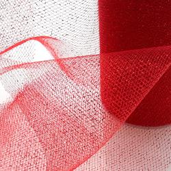 Ruban Tulle Fantaisie Lurex 10 cm Coloris Rouge Longueur 10 mètres