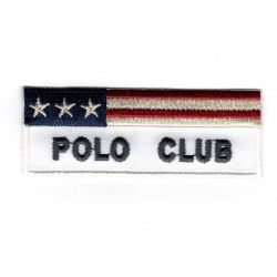 Patch Ecusson Thermocollant Polo Club Coloris Blanc USA 2,50 x 7 cm