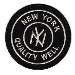 Patch Ecusson Thermocollant Rond New York Coloris Marine 7 x 7 cm