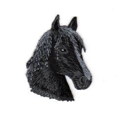 Patch Ecusson Thermocollant Tête de Cheval Coloris Noir 4,50 x 6 cm