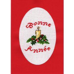 Kit Carte de Voeux Bougie Bonne Année Carte Coloris Rouge Point de Croix Comptés