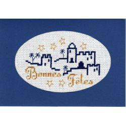 Kit Carte de Voeux Mille et Une Nuits Bonnes Fêtes Coloris Bleu Point de Croix Comptés
