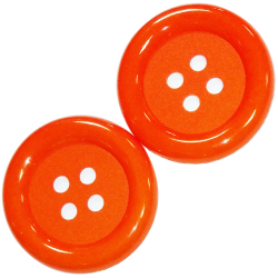 2 x Bouton Clown Géant 62 mm Plastique Coloris Orange