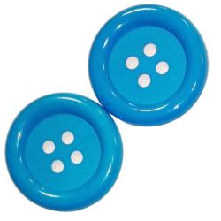 2 x Bouton Clown Géant 62 mm Plastique Coloris Bleu Turquoise