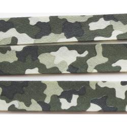 Ruban Biais Replié 20 mm Coton Vendu par 4,50 Mètres Colorie Armée Militaire Camouflage Kaki