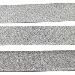 Ruban Biais Replié 20 mm Coton Polyester Vendu par 4,50 Mètres 2 Coloris Argent Argenté