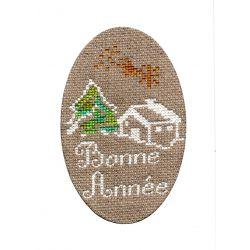 Kit Carte de Voeux Maison sous la Neige Coloris Blanc Point de Croix Comptés