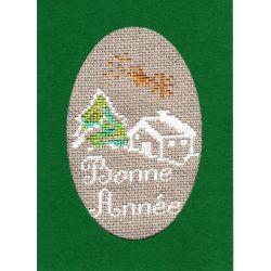 Kit Carte de Voeux Maison sous la Neige Coloris Vert Point de Croix Comptés