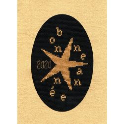Kit Carte de Voeux Bonne Année Etoilée Coloris Or Doré Point de Croix Comptés