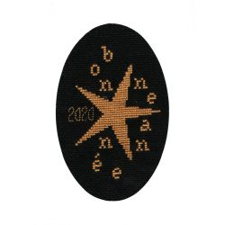Kit Carte de Voeux Bonne Année Etoilée Coloris Blanc Point de Croix Comptés