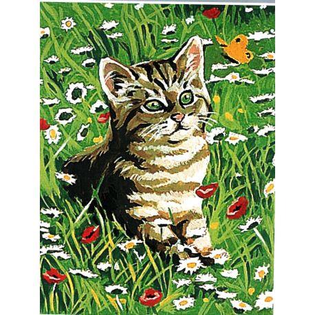 Kit Canevas Chat Chaton dans les fleurs d'été 14 x 18 cm