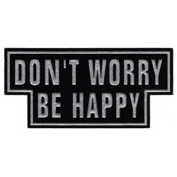 Patch Ecusson Thermocollant Don't worry Be happy 8,50 x 18 cm