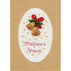 Kit Carte de Voeux Cloches de Noël Carte Coloris Doré Point de Croix Comptés