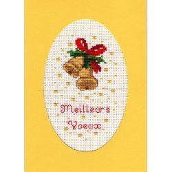 Kit Carte de Voeux Cloches de Noël Carte Coloris Jaune Point de Croix Comptés